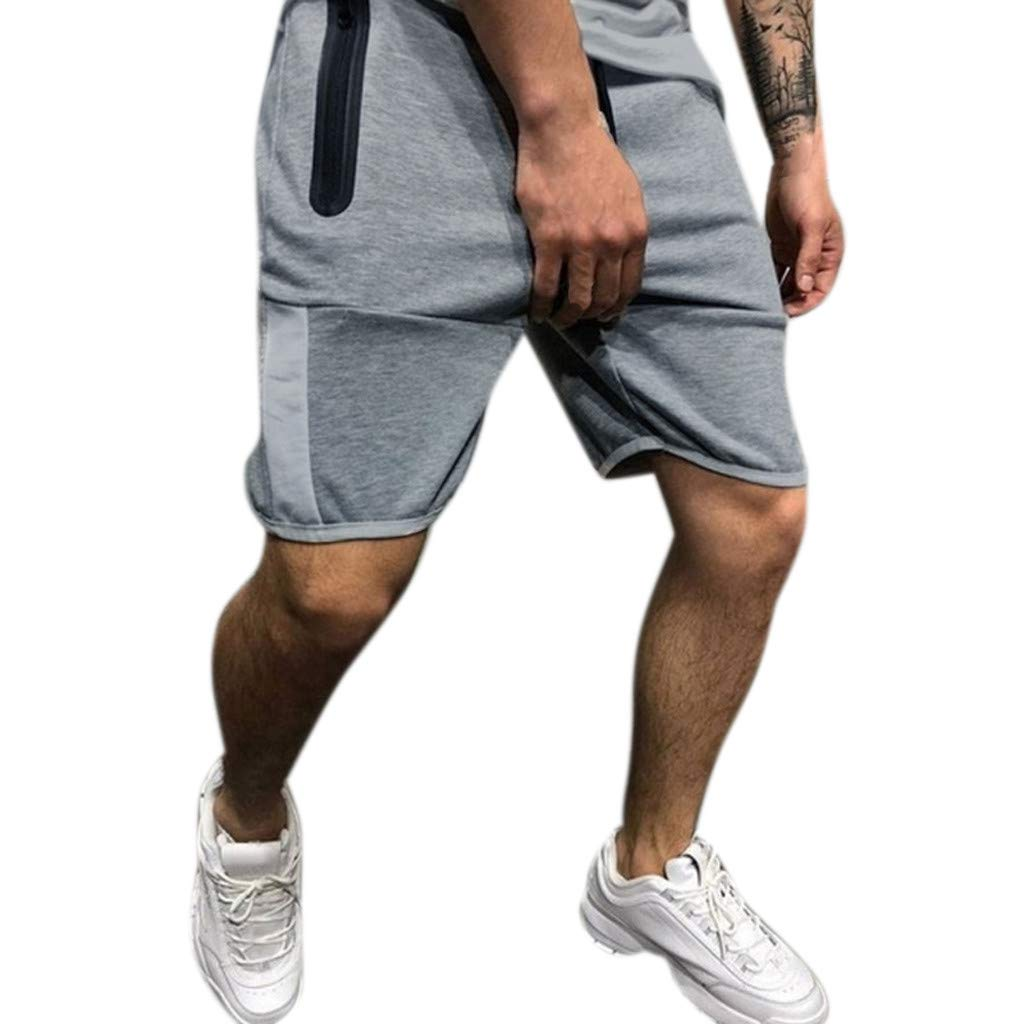 Men's Pants,Hoshell Men Zipper Casual Splice Stripe Beach Work Casual Men Short Trouser Shorts Pants (Gray, Medium)