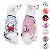 Blueberry Pet Pack of 2 Soft & Comfy Summer Sunshine Sea Lover Cotton Blend Striped Dog T Shirts Tank Top, Back Length 14'', Clothes for Dogs