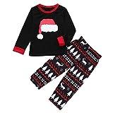 FEDULK Matching Christmas Family Pajamas Cartoon Hat Top Reindeer Print Pants Sleepwear Xmas Kids PJs(Black, Kid-100)