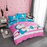 CASA 100% Cotton Kids Bedding Set Girls Doraemon Duvet cover and Pillow cases and Flat sheet,girls,4 Pieces,King