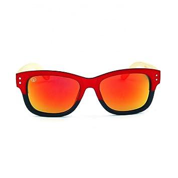 Gafas de Sol de Moda montura rojo-negro cristal espejo y ...