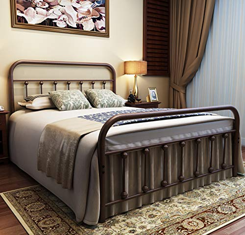 (URODECOR Metal Bed Frame Full Size Headboard and Footboard with Mattress Foundation,The Vintage Style Iron Double Bed The Metal Structure,Antique Bronze Brown)