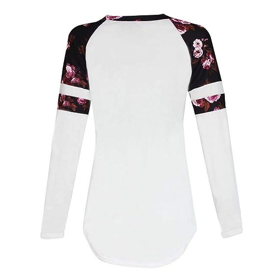 JiaMeng Blusa Holgada Irregular Camisetas con Tops de Rayas universitarias de Manga Larga con Estampado Floral Tops: Amazon.es: Ropa y accesorios