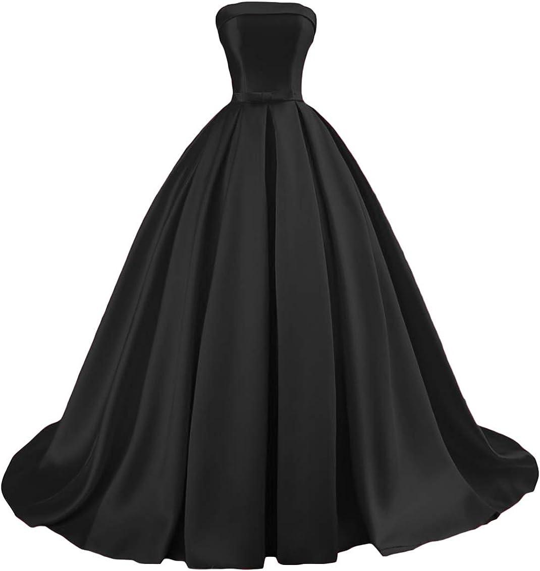 Amazon Com Dymaisei Women S Strapless Prom Dress 2020 Long Ball Gowns Evening Formal Wedding Dress Clothing