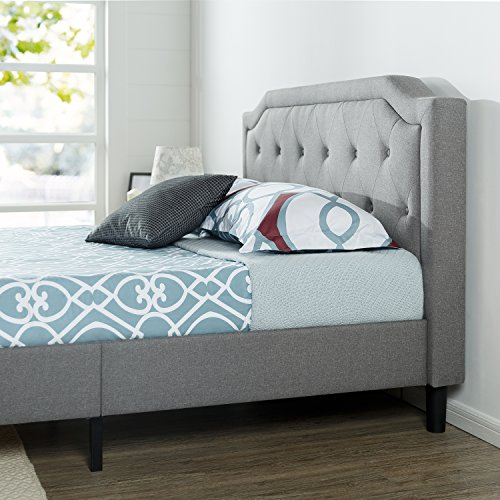 Zinus Kellen Upholstered Scalloped Button Tufted Platform Bed / Mattress Foundation / Easy Assembly / Strong Wood Slat Support, Queen