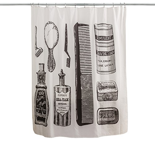 Splash Home 71VANIT/FPBEISPL Vanity Shower Curtain (White Vanity Vintage)