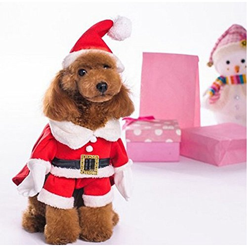NACOCO Pet Christmas Costumes Dog Suit with Cap Santa Claus Suit Dog Hoodies Cat Xmas Costumes (Red, XS) -