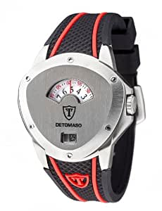 DeTomaso Compasso XXL Retro - Reloj de cuarzo para hombres, correa de silicona color negro y rojo, esfera plateada