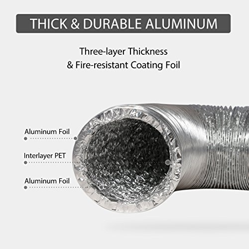 VIVOHOME 4 inch 8 Feet Aluminum Flexible Dryer Vent Hose with 2 Clamps for HVAC Ventilation by VIVOHOME (Image #3)