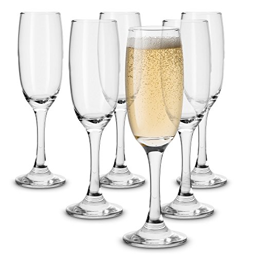 KooK Premium Clear Glass Champagne Flutes, Thin Stem, 7 ounce (6) Clear 7 Ounce Flute