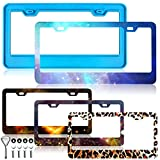License Plate Frame Silicone Mold, Silicone License Plate Mold Casting Molds for Epoxy Resin with Installation Screw Accessories for DIY Handmade