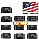 New MTN-G LCD 30A PWM Solar Panel Regulator Battery Charge Controller AL 10SETS