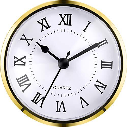 Hicarer 3-1/2 Inch (90 mm) Quartz Clock Fit-up/Insert with Roman Numeral, Quartz Movement (Gold Trim)