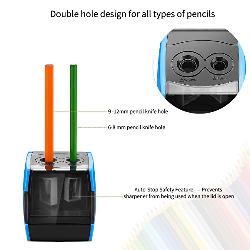 SMARTRO Electric Pencil Sharpener, Best USB or Battery Operated Heavy Duty for No.2 and Colored Pencil Photo #7