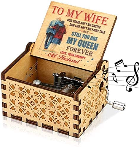LINGSFIRE Caja de música de Madera, Regalo para Esposa, Manivela de Mano, caja de música Antigua, Tallada Vintage, caja de Música Creativa para tu Querida Esposa, Navidad,