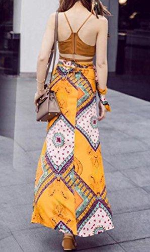 Coolred-femmes Costume Bohème Deux Pièces Style Folk Été Découpé Maxi Robe De Fête Comme Image
