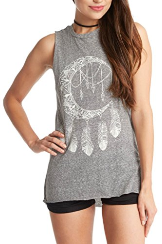 Women's Dream Catcher Graphic Tee High Low Tank Top USA Heather Grey M ()