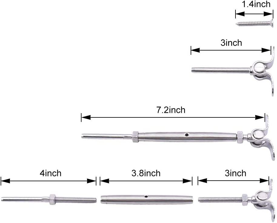 CKE 12 Pack T316 Stainless Steel Cable Railing Kits Fit 3//16 Stainless Steel Wire Rope Cable,Toggle Turnbuckle /& End for Cable Railing Systems