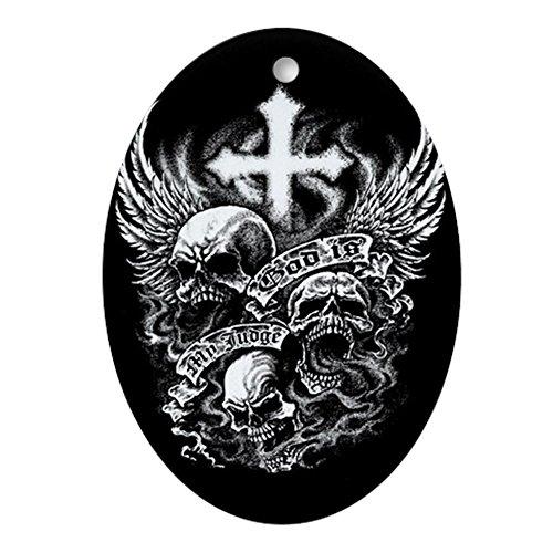 Ornament (Oval) God Is My Judge Skulls Cross Angel