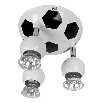 Alpha balón de fútbol 3 focos, blanco y negro, 3 x 50 W Gu10 ...