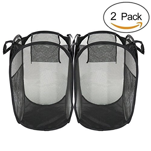ry Hampers-Durable & Easy to Carry-Collapsible laundry basket Ideal for Apartments, Travel, Dorm Rooms or Vacations-BLACK,2 pack (Bath Pop Up Hamper)
