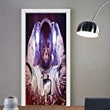 Gzhihine custom made 3d door stickers Space Cat Astronaut Cat in Suit Outer Space Nebula Galaxy Cosmos Fire Image Purple Dark Blue and White For Room Decor 30x79