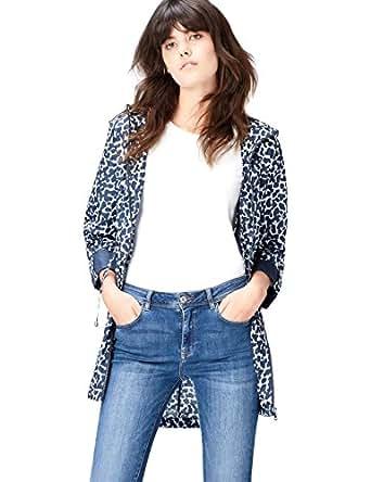 FIND Chubasquero Largo con Estampado para Mujer , Marfil (Animal Print), 36 (Talla del Fabricante: X-Small)