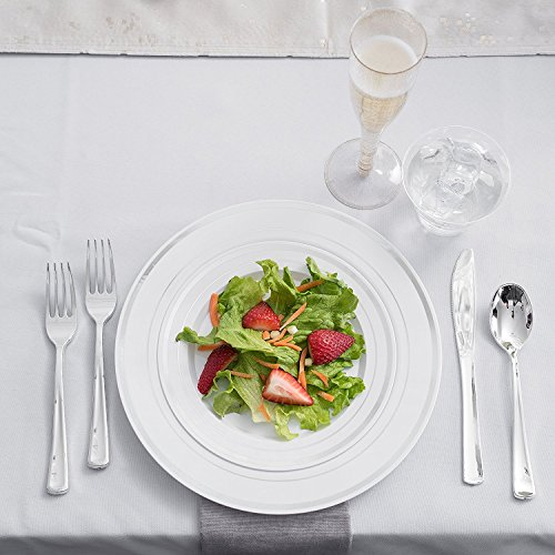 Stock Your Home 125 Disposable Heavy Duty Silver Plastic Forks, Fancy Plastic Silverware Looks Like Silver Cutlery - Utensils Perfect for Catering Events, Restaurants, Parties and Weddings by Stock Your Home (Image #3)
