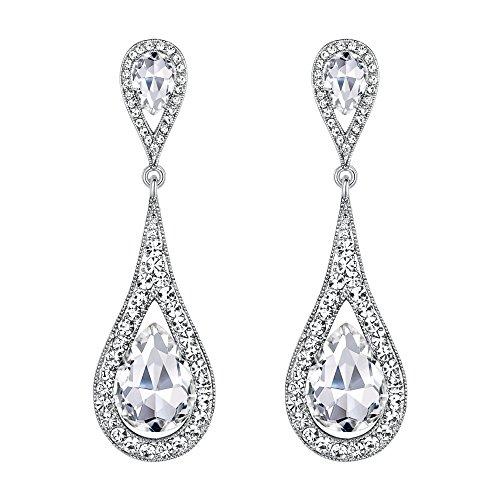 EVER FAITH Womens Austrian Crystal Elegant Dual Teardrop Pierced Dangle Earrings