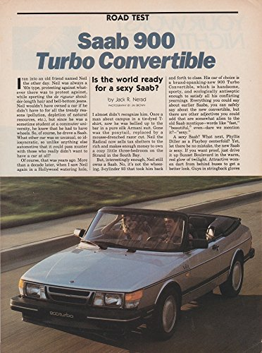 *PRINT ROAD TEST* 1987 SAAB 900 TURBO CONVERTIBLE VINTAGE ORIGINAL COLOR/NON-