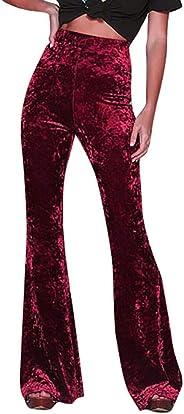Fanteecy Women's Crushed Velvet Flared Pants Boho Comfy Stretchy Bell Bottom Flare Pants Soft Comfy Gypsy Pants