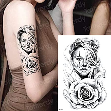 tzxdbh Tatuaje gótico para Mujer Tatuajes temporales Impermeables ...