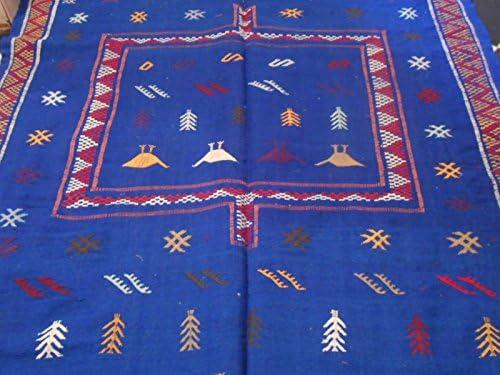 Rug Moroccan Handmade Area Wool Kilim Berber Carpet Blue