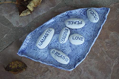 Blue Meditation Stone and Plate set, handmade pottery word ()