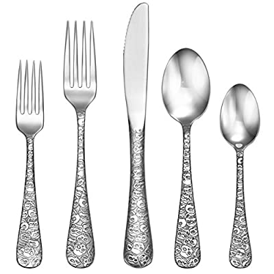 Liberty Tabletop Calavera (Skull) 65 Piece Flatware Set for 12 Made in USA - FINEST QUALITY 18/10 STAINLESS STEEL! Liberty Tabletop ONLY uses the highest quality stainless steel. All materials responsibly sourced domestically. 100% MADE IN USA! Liberty Tabletop flatware is made in Sherrill NY. The ONLY FLATWARE MANUFACTURER in the USA. 25 YEAR MANUFATURERS WARRANTY! Liberty Tabletop proudly stands by our quality. Our goal is to provide a high-quality product for our valued customers. - kitchen-tabletop, kitchen-dining-room, flatware - 515QVHDde L. SS400  -