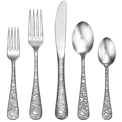 Liberty Tabletop Calavera (Skull) 20 Piece Flatware Set service for 4 18/10 Made in USA ()