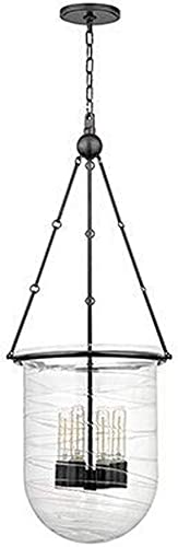 Hudson Valley Lighting 214-OB Willet – Four Light Pendant, Old Bronze Finish with Clear Swirled Glass