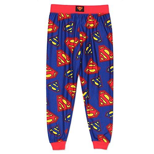 Superman Boys Flannel Pajama Pants (Medium/8, Red/Blue)