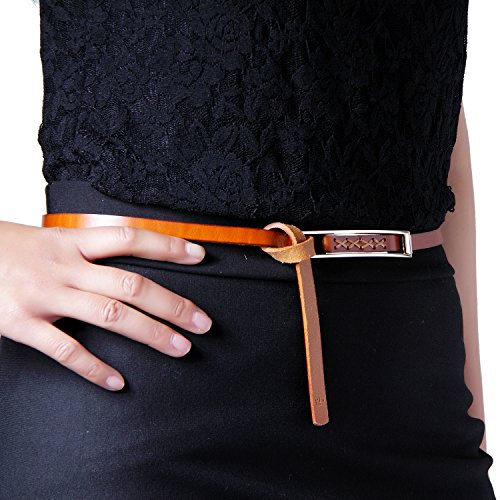 GSG Fashion Casual Skinny Genuine Leather Belt with Thread Decoration for Lady M Cognac (Decoration Genuine Leather Belt)