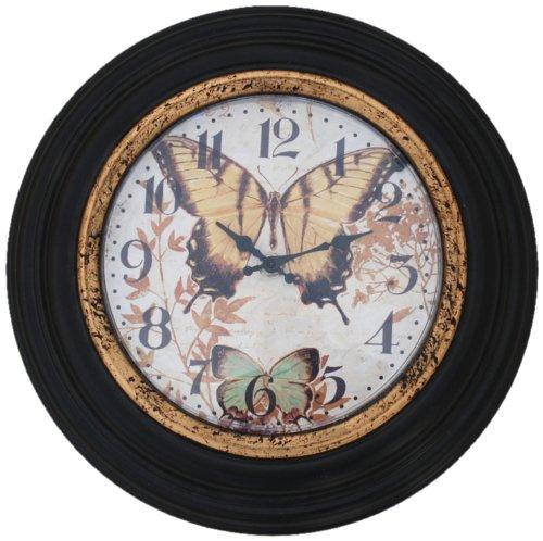 Ashton Sutton HD11D1 Metal Wall Clock with Butterlies