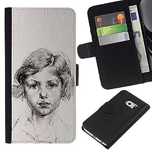 For Samsung Galaxy S6 EDGE Case , Portrait Young Girl Paper - la tarjeta de Crédito Slots PU Funda de cuero Monedero caso cubierta de piel