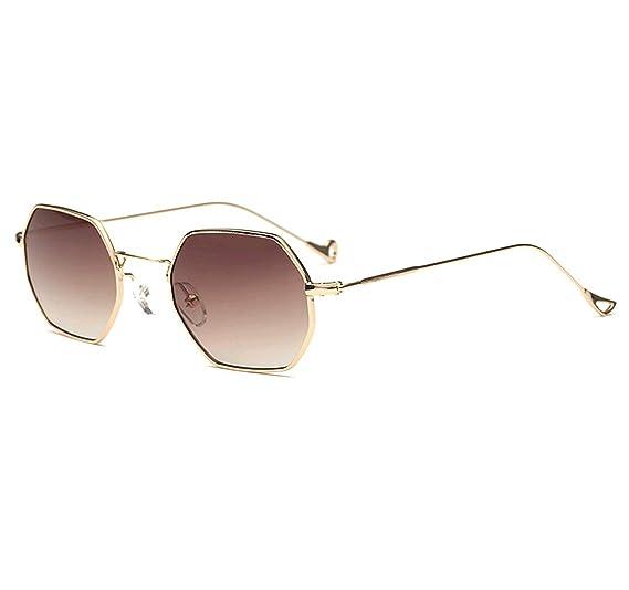 2db5f5fd83 GAMT Square Sunglasses for Women Men Metal Frame Hexagon Mirrored Glasses  Round Eyewear gold Frame brown