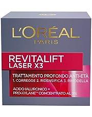 L'Oréal Paris X3 Revitalift Laser - Crema Viso Antirughe Anti-Età con Acido Ialuronico e Pro-Xylane di Giorno, 50 ml