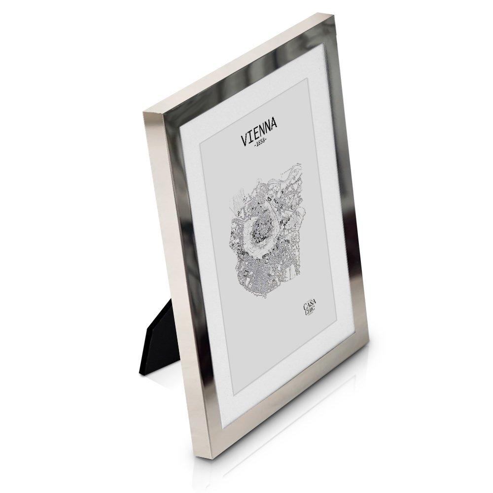 Elegance by Casa Chic Cadre Photo élégant 13x18 cm en métal et vitre en Verre avec Passe-Partout de 10x15 cm Inclus Argent Brillant product image