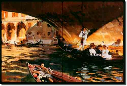 "UPC 810753026444, The Rialto by John Singer Sargent - Venice Canal Tumbled Marble Tile Mural 16"" x 24"" Kitchen Shower Backsplash"