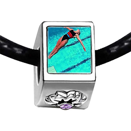 Olympics female diver in competition Light Amethyst Crystal June Birthstone Flower Charm Bracelets