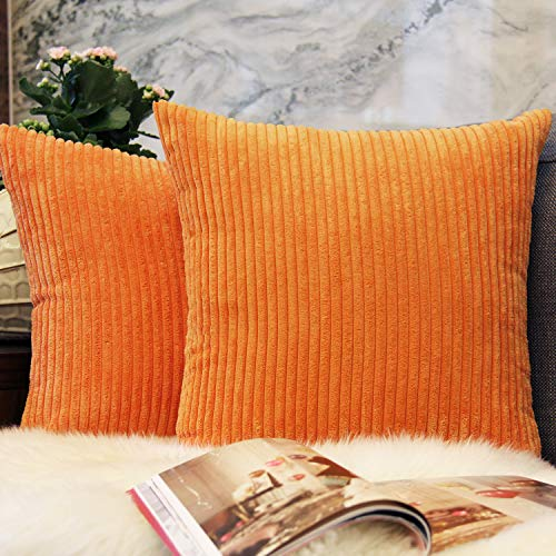 JOJUSIS Pack of 2 Striped Corduroy Throw Pillow Covers Plush Velvet Soft Solid Decorative Cushion Pillow Cases for Sofa Bedroom Car 20 x 20 Inch Orange