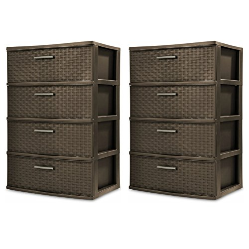 Sterilite 4-Drawer Wide Weave Tower, Espresso Frame & Drawers w/ Driftwood Handles, 2-Pack (Drawers Storage Rubbermaid)