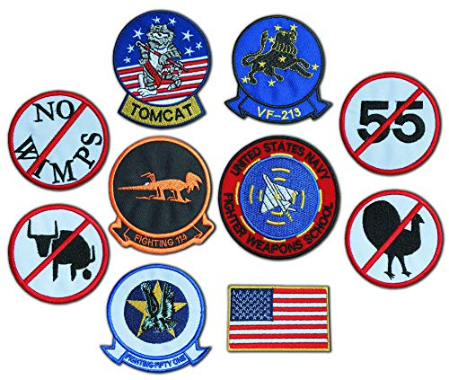 EMBROIDERY KING Top Gun Fighter - Maverick (Pete Mitchell) Kawasaki GPz Screen Accurate Embroidered Tactics Patch Set for G1 Flight Jacket (10 Badges)