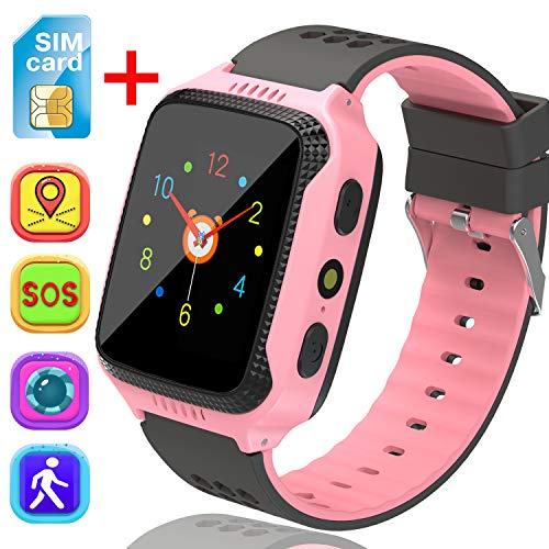 ([SIM Card Included] Kids Smart Watch with GPS Tracker, Girls Boys Phone Watch with Remote Monitor Camera Touch Screen One Game Anti Lost Alarm Clock for Children Holiday Birthday Gift (Pink))